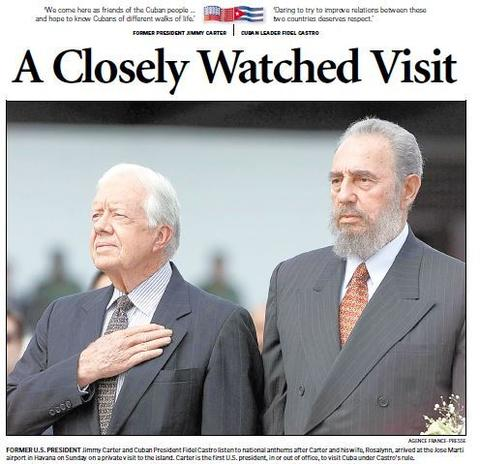 Former President Jimmy Carter arrived in Cuba to visit with Fidel Castro on May 12, 2002. The five-day visit was the first by a U.S. president since Castro's 1959 revolution.