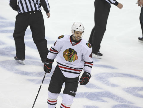 Niklas Hjalmarsson reacts after getting a penalty during the third period.