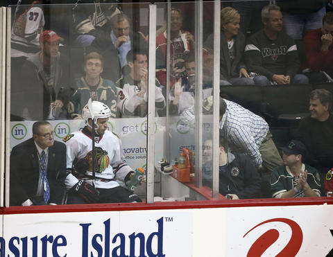 Wild fans tease Niklas Hjalmarsson after his penalty in the third period.