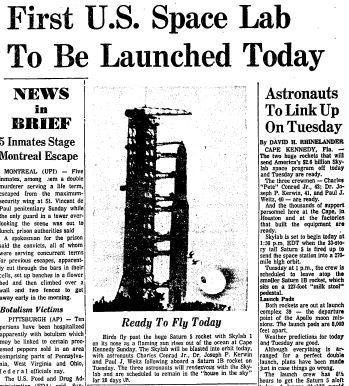 Skylab, the United States' first space station, was launched May 14, 1973. The $2.6 billion space lab was attached to two giant rockets for its trip into space and was operational until 1979. Click here to see a full-page PDF of the Courant's coverage.