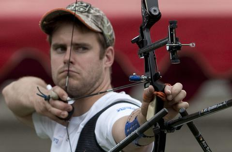 French Jean Charles Valladont  takes part in the Archery World Cup Recurve Bow Men qualification on May 14, 2014 in Medellin, Antioquia department, Colombia.