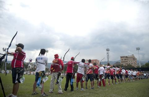 Worldwide athletes take part in the Archery World Cup Recurve Bow Men qualification on May 14, 2014 in Medellin, Antioquia department, Colombia.