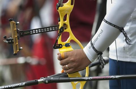 Korean Oh Jin Hyek takes part in the Archery World Cup Recurve Bow Men qualification on May 14, 2014 in Medellin, Antioquia department, Colombia.