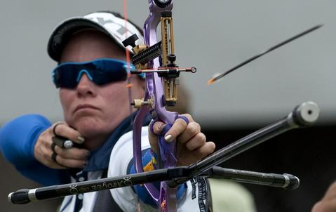 Colombian Natalia Sanchez shoots during  the Archery World Cup Mixed Team qualification on May 14, 2014 in Medellin, Antioquia department, Colombia.