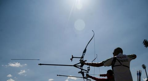 Ivan Gonzalez of Mexico shoots during an official practice in the Archery World Cup Recurve Men on May 13, 2014 in Medellin, Antioquia department, Colombia.