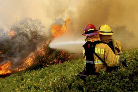 Firefighters battle a wildfire in Carlsbad, California May 14, 2014.
