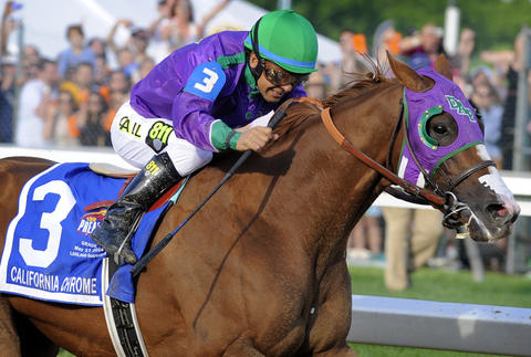 California Chrome heads down the straight stretch to victory.
