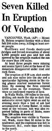 Mount St. Helens, a volcano in Washington, erupted on May 18, 1980. The death toll would eventually reach 57, with more than $1 billion in property damage. Click here to see a full-page PDF of the Courant's coverage.