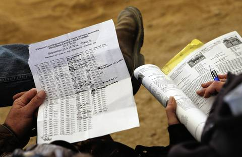 Potential bidders keep notes on the second day of the federal auction at the Rita Crundwell ranch in Dixon, Ill.