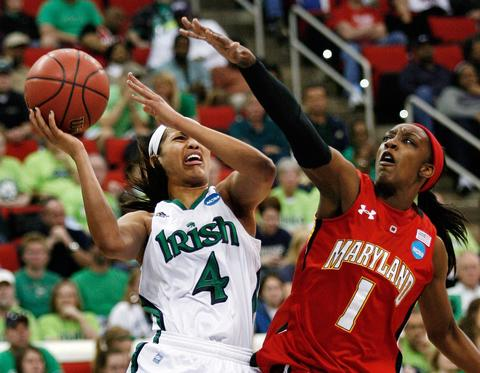 Top-seeded Notre Dame ended Maryland's 2011-12 season with an 80-49 win in an NCAA regional final in Raleigh. Irish star Skylar Diggins (pictured against Laurin Mincy) led the way for the Irish with 22 points.
