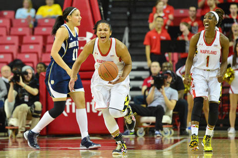 No. 2 Notre Dame led No. 8 Maryland 41-19 late in the first half, but the Terps stormed back to take a one-point lead, 64-63, with 10 minutes left. The comeback was a moot point, as Notre Dame won the game, 87-83, but the Terps credited their effort that day at Comcast Center for helping spark their run to the Final Four. Alyssa Thomas (pictured) had 29 points and 12 rebounds in the game for Maryland.