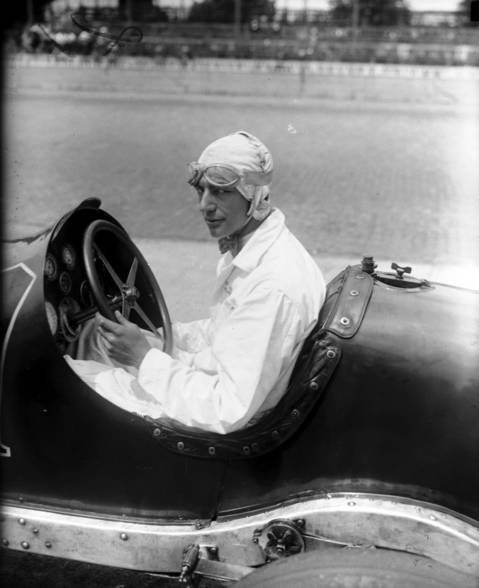 Lora Corum in car #17, a Duesenberg straight 8, circa May 29, 1928. Corum competed in six Indianapolis 500 races, co-winning in 1924 with Joe Boyer who relieved Corum on lap 109.