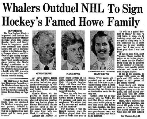 The New England Whalers improved their fortune immeasurably on May 23, 1977, when the team signed Gordie, Mark and Marty Howe to long-term contracts. The deal helped keep professional hockey in Hartford when the World Hockey Association and the National Hockey League merged in 1979. Click here to see a full-page PDF of the Courant's coverage.