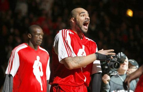 Carlos Boozer is fired up during pregame introductions.
