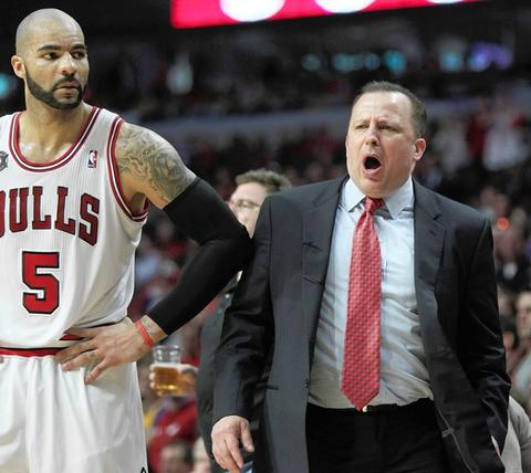 Coach Tom Thibodeau reacts after Carlos Boozer was called for a foul on Miami's LeBron James in the second half.