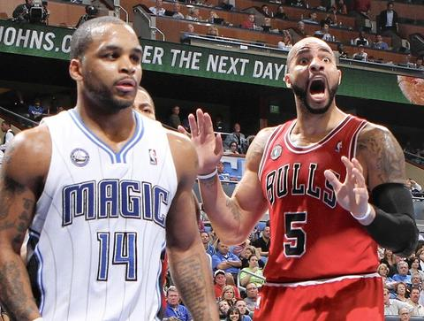Carlos Boozer reacts to a call by the officials during the first half against the Magic at Amway Center.