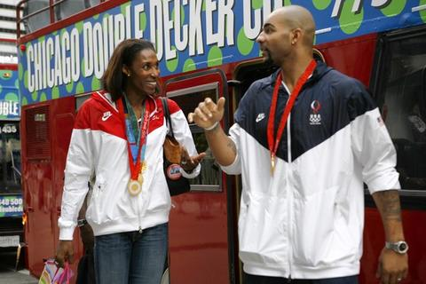 "Olympians Lisa Leslie and Carlos Boozer arrive at Millennium Park before appearing with 175 U.S. Olympic medalists on the 23rd season premiere of ""The Oprah Winfrey Show"" taped at the Jay Pritzker Pavilion."