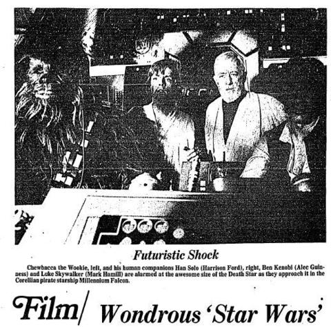 "Pop culture phenomenon ""Star Wars"" was released on May 25, 1977. The George Lucas classic finally arrived in the Hartford area in July and Courant movie critic Malcolm Johnson closed his review with: ""Every kid in the universe deserves to see this picture."" Click here to see a full-page PDF of the Courant's coverage."