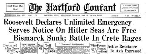 "In a fireside chat from the East Room of the White House, President Franklin D. Roosevelt declared an ""unlimited national emergency"" as a response to the believed intent by Adolf Hitler and his Axis partners to conquer the world. Click here to see a full-page PDF of the Courant's coverage."