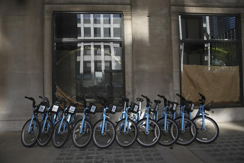 Divvy bikes lined up near Union Station at 225 S. Canal St. on May 21, 2014.