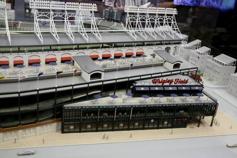 The model of the Wrigley Field plans with an addition at the corner of Addison and Sheffield Streets.
