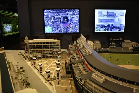 A model of Wrigley Field expansion plans and slide show shown during a press conference at Wrigley Field. The triangular section at the corner of Clark Street and Waveland Avenue will include a 30,000-square-foot clubhouse with a bi-level basement beneath the plaza.