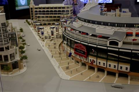 The model of Wrigley Field expansion plans. Cubs executive Crane Kenney said the ballclub has worked closely iwth City planners on designs that would comply with the city's architectural landmark standards.