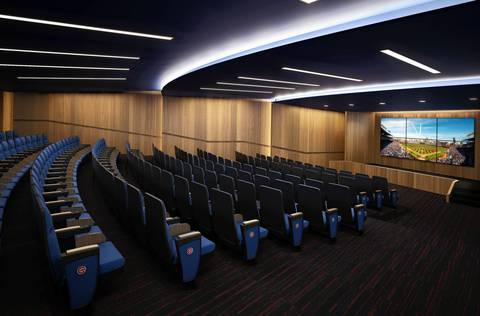 A rendering released by the Chicago Cubs shows a proposed auditorium inside Wrigley Field.