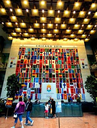 The tower lobby expresses Chicago's desire to host the 2016 games. The city will find out Oct. 2.