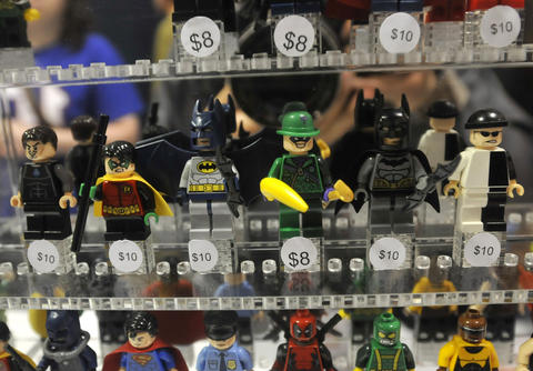 Lego comic book toys for sale at Hartford Comic Con at the XL Center Saturday.