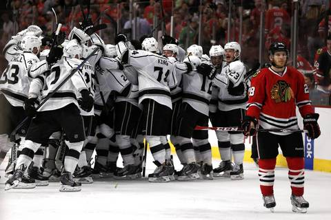 7. June 1, 2014: Kings 5, Blackhawks 4. Alec Martinez's goal 5:47 into overtime in Game 7 of the Western Conference finals stunned Chicago and ended the Hawks' quest for back-to-back Stanley Cups. The Hawks lost three leads in regulation, the last coming with 7:17 to play.