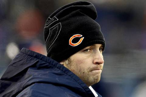 8. Jan. 23, 2011: Packers 21, Bears 14. The Bears had home-field advantage as they faced their archrivals in the NFC championship game but wound up with a painful loss and an injured quarterback. Jay Cutler suffered a knee injury and was unable to perform in the second half. Backup Todd Collins could not get the job done, so third-stringer Caleb Hanie was summoned. He managed to keep it close, but hulking defensive lineman B.J. Raji intercepted a Hanie pass and returned it for an easy score. Cutler's inability to play in the second half was fodder for sports talk shows and social media for months.