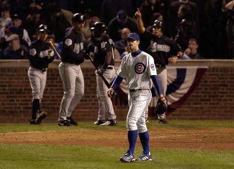 1. Oct. 14, 2003: Marlins 8, Cubs 3. The Cubs appeared to have the NLCS locked up -- along with their first World Series berth in 58 years -- leading three games to two with a 3-0 lead in the eighth inning and Mark Prior on the mound at Wrigley Field. But trouble lurked in a left-field box seat -- and at shortstop. With one out, the Marlins' Luis Castillo hit a foul ball down the left-field line. Several spectators reached for the ball along the railing as Moises Alou lunged to try to make the catch. One fan, Steve Bartman, deflected the ball as he reached for it, and Alou was unable to make the grab. Alou reacted demonstrably, and the Marlins would go on to score eight runs in the inning, sending 12 batters to the plate, as Cubs shortstop Alex Gonzalez botched a routine double-play ball. The Cubs had a chance at redemption with Kerry Wood starting Game 7 at home, but the Marlins prevailed 9-6 to win the pennant.