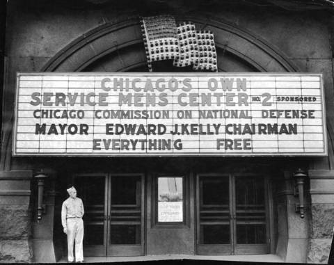 The Chicago Servicemen's Center at Michigan Avenue and Congress Street was opened in 1942 by Mayor Edward Kelly and the Chicago Commission on National Defense in the Auditorium Theatre building.