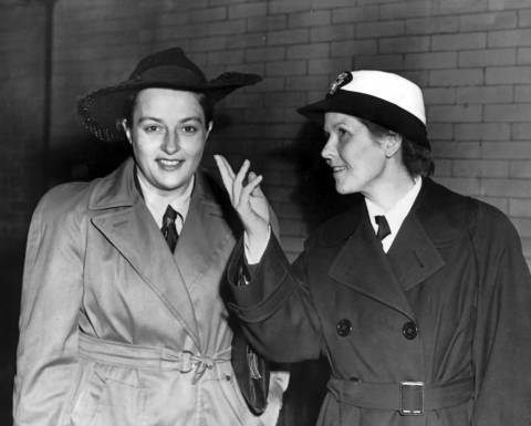 Lt. Lyudmila Pavlichenko, left, Russian sniper credited with killing more than 300 in World War II, arrives at the LaSalle Street station in Chicago. At right is Women's Army Auxiliary Corps Lt. Mary Daly.