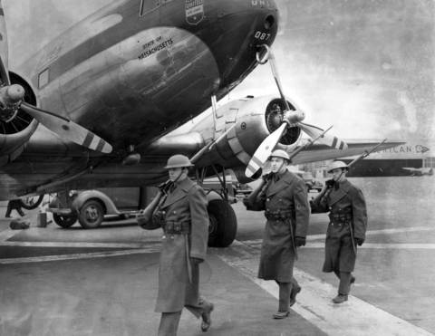 The Illinois Reserve Militia guard Midway Airport during World War II in Chicago, circa Jan. 12, 1942.