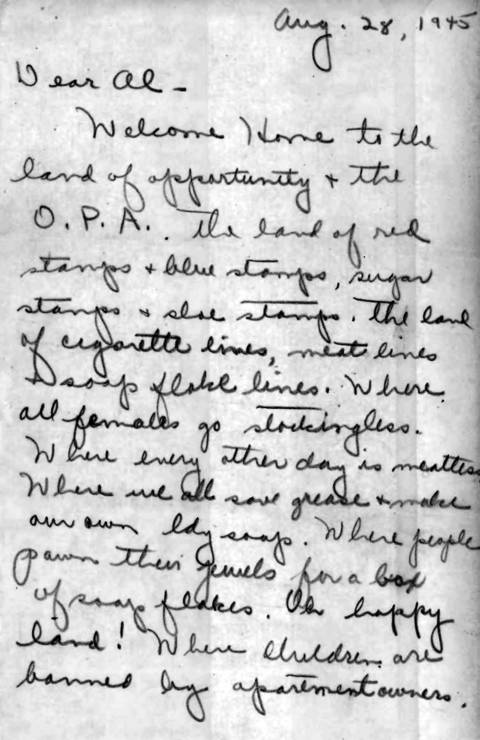 Marion Dunlevy writes a letter to her brother Al, who was fighting in World War II, describing the hardships the family endured at home during war. Letter dated Aug. 28, 1945.
