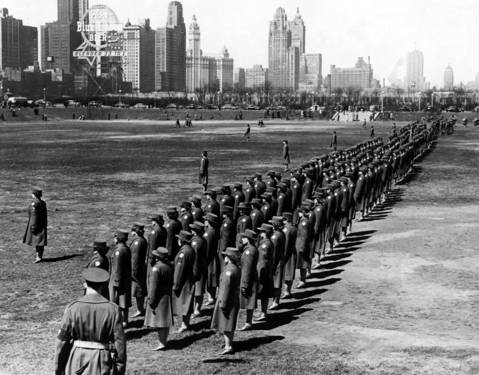 The Women's Army Corps march in Grant Park in Chicago in 1943 during World War II.