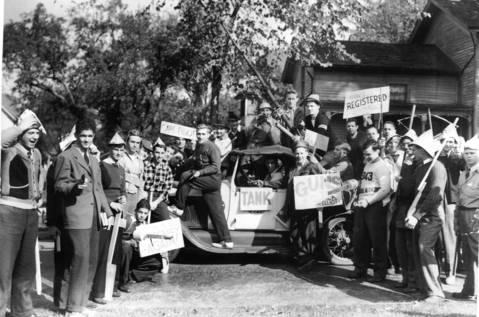 North Central College students protest the draft and the war scare that swept the country just before World War II, circa Oct. 16, 1940.