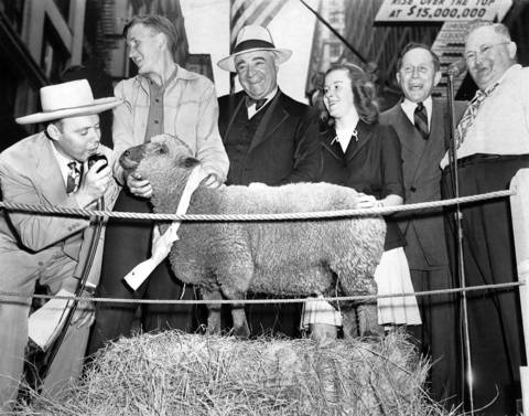 Marvin Gatz, of Polo, Ill., second from left, holds his prize lamb which sold for $20,000 in war bonds at a bond rally on State Street in Chicago, circa June 20, 1945. With Gatz are, from left, Les Lear, master of ceremonies, Ernest Byfield, the buyer, Lila Gatz, Marvin's sister, Lawrence Stern, bond drive chairman, and Max Farley, auctioneer.