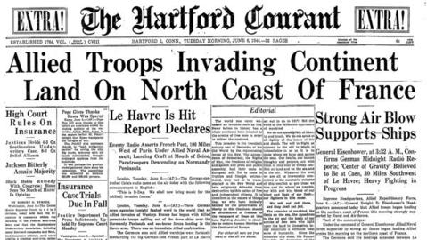 The Courant put out an extra edition of the paper on June 6, 1944 to report on the allied troops invasion on the beaches of Normandy, France, now referred to as D-Day. U.S. General Dwight D. Eisenhower led more than 150,000 troops across the English Channel, who broke through the German's coastal fortifications and changed the course of World War II.
