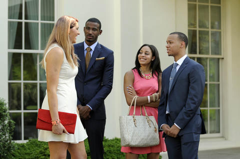 UConn's Stefanie Dolson, DeAndre Daniels, Bria Hartley and Shabazz Napier have a laugh as they wait for the start of a press conference at the White House Monday.