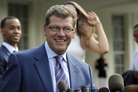 UConn women's basketball head coach Geno Auriemma answers questions at a press conference at the White House Monday.