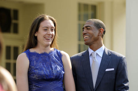UConn's Breanna Stewart has a laugh with UConn men's basketball head coach Kevin Ollie at the press conference at the White House.  POISSON|cpoisson@courant.com