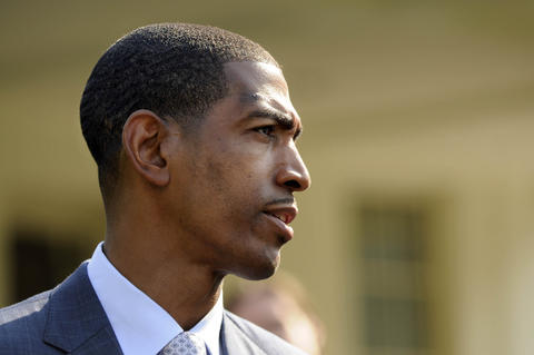 UConn men's basketball head coach Kevin Ollie answers a reporter's question at the press conference at the White House. POISSON|cpoisson@courant.com