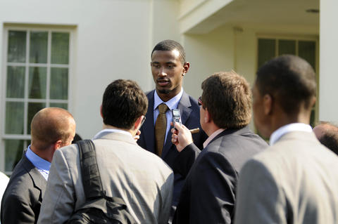 UConn's DeAndre Daniels is interviewed at a press conference at the White House.