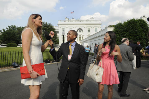 UConn's Stefanie Dolson and Bria Hartley are interviewed outside the White House after President Barack Obama honored the NCAA Champion UConn men's and women's basketball teams. Dolson and Hartley, who graduated in May,  play for the WNBA's Washington Mystics.