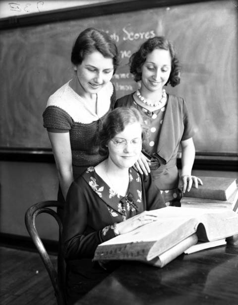 Lucy Bellegay, Mildred Feldman, and Vivian Klemme, at Austin High School, circa June 2, 1932.