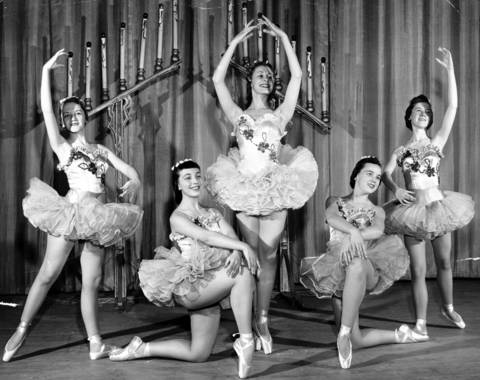 "Ballerinas in Austin High School's production ""White Christmas Tree"" are, from left, Dolores Peavy, Betsy Jackson, Peggy Richiardi, Patricia De Wald, and Daphne Ham, circa Dec. 25, 1954."