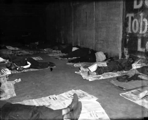 The homeless sleep under West Adams Street, circa Oct. 9, 1931.